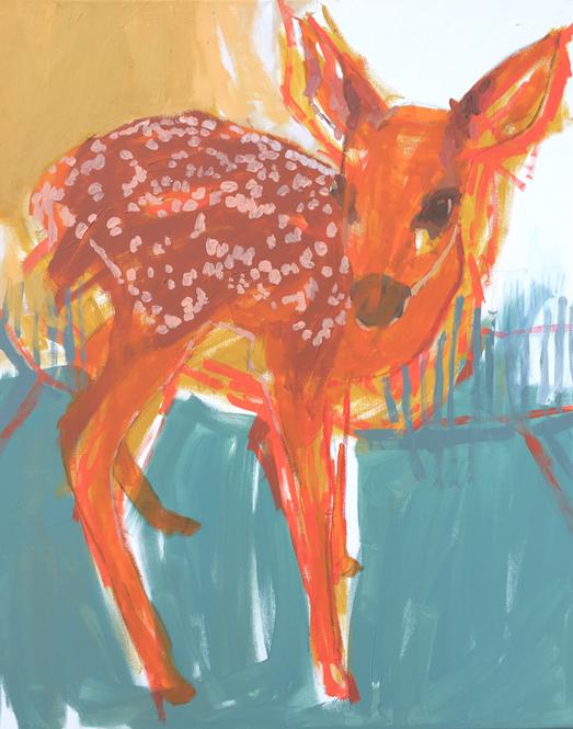 fallow deer , 100x80cm , acrylic on canvas