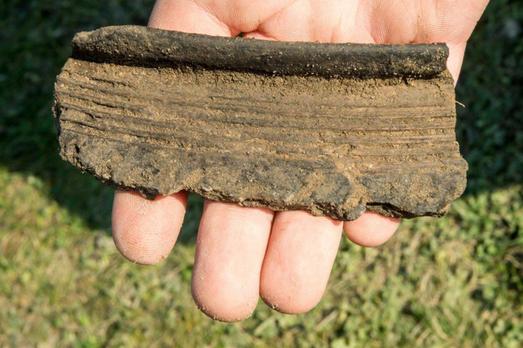 Fragment d'une poterie médiévale découvert pendant les fouilles sur la colline du château à Unislaw. Crédit : PAP/Tytus Żmijewski