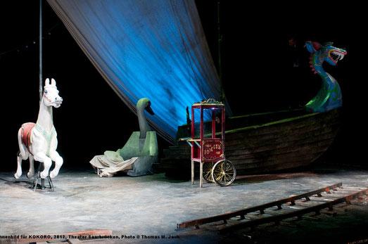 Bühnenbild, Schwan, ein Karussellpferd, Schiff furchteinflößenden Wikinger-Drachenkopf, weit aufgerissenes Krokodilmaul, Schienenstücke einer Eisenbahn, Kette mit bunten Glühbirnchen, Wegweiser mit seltsamen Ortsangaben