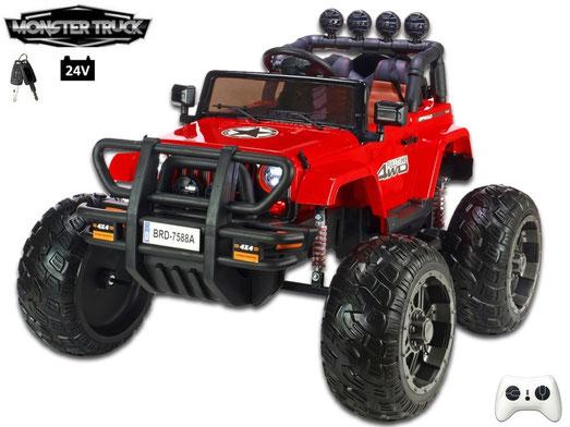 Wrangler Monster Truck/Jeep/24V/400W/Kinderauto/ Kinder Elektroauto/1 Sitzer/rot/