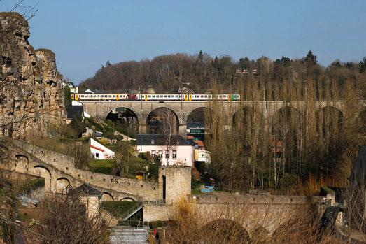 Luxemburg Stadt, Eisenbahn, Brücken, Viadukte