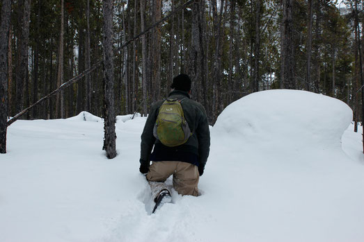 Snow hiking in Wyoming, winter hiking, outdoor adventures USA