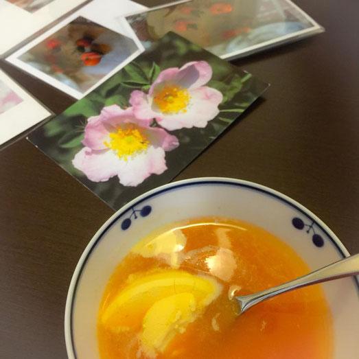 アイスクリーム入りローズヒップスープ  photo:kimidori
