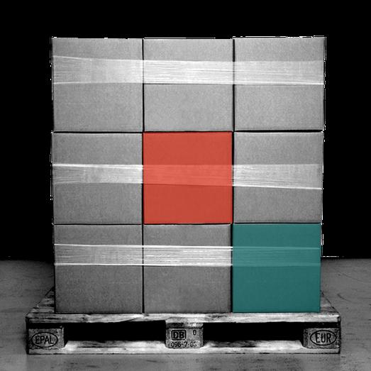 Lagerlogistik und Warehousing,  Kartons auf Palette.