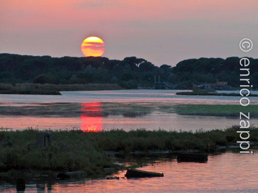Suggestivo tramonto di fine estate alla Piallassa della Baiona.