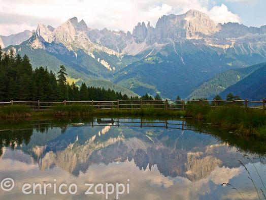 Il Gruppo del Catinaccio si specchia in un laghetto della Val di Tires.