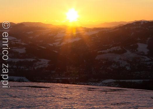 Tramonto sulla neve a Rocca delle Caminate