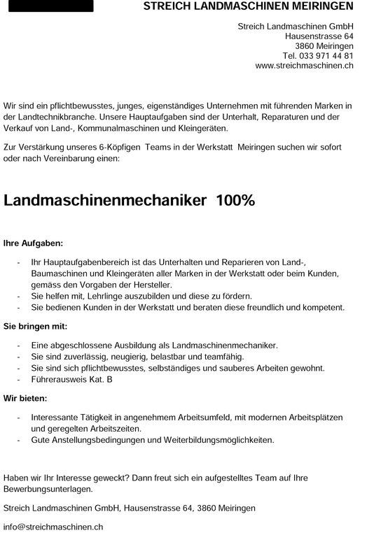 job, stelle, landmaschinenmechaniker, meiringen, mechaniker, stelleninserat, stellenanzeige, jobs.ch, streich landmaschinen GmbH meiringen