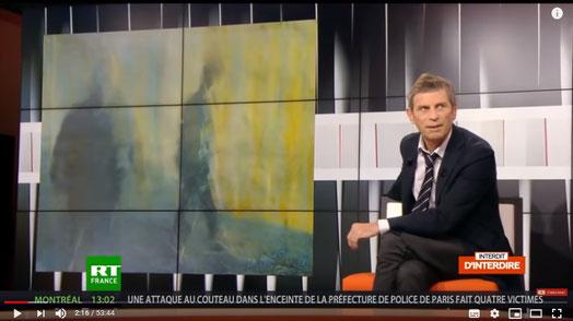 Une des toiles de Leon Diaz Ronda présentée par Marie-Christine Natta, Biographe,  à l'émission de Frédéric Taddeï INTERDIT D'INTERDIRE