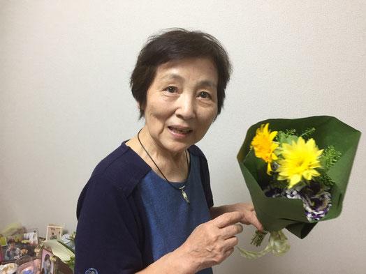看板娘 傘寿 花束 黄色と紫 ヒマワリ トルコキキョウ
