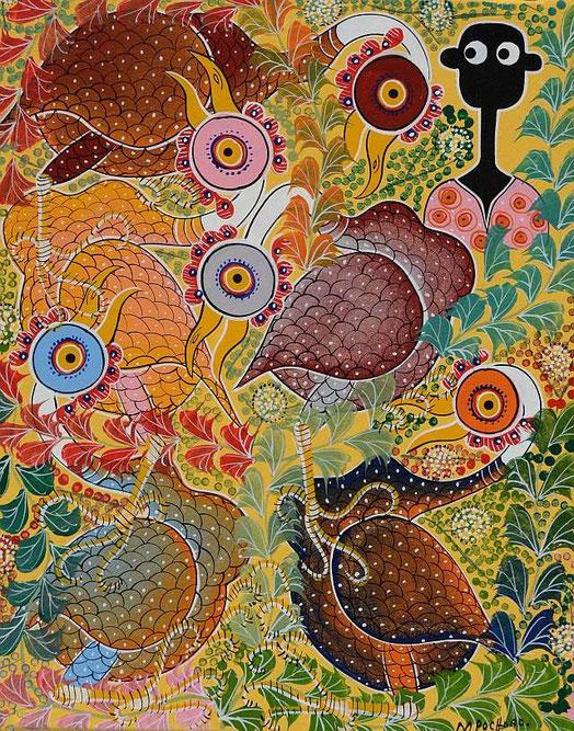 Gemalt von Mohamed A. Chivinja (Mpochogo) aus Dar es Salaam, Tanzania (Ölfarbe aus Leinwand)