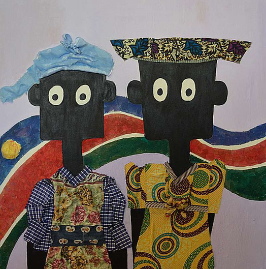 NALA and ALVINA, acrylic, paper and fabric on streched canvas, 70cm x 70cm