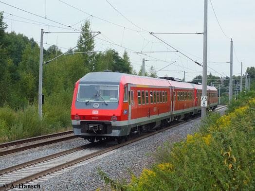 Am 23. August 2013 konnte ich gerade noch einen Nachschuss auf 610 015/515 machen. Der vordere Zugteil blieb leider unerkannt. Mit hohem Tempo rauscht der Zug durch Chemnitz-Hilbersdorf gen Dresden