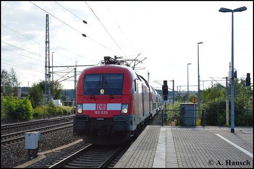182 020-8 trifft am 16. August 2014 mit S1 in Pirna Hbf. ein