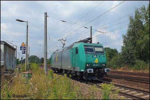 185 533-7 von rail4chem kommt am 16. Juli 2014 Lz durch Leipzig-Thekla