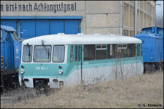 Am 21. März 2015 entdeckte ich 772 173-1 der Usedomer Eisenbahnfreunde versteckt im Gelände der PRESS in Espenhain