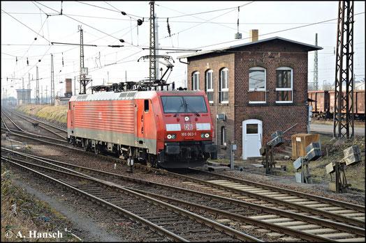 Am 18. Februar 2015 wird 189 063-1 in Leipzig-Engelsdorf für einen Güterzug bereitgestellt