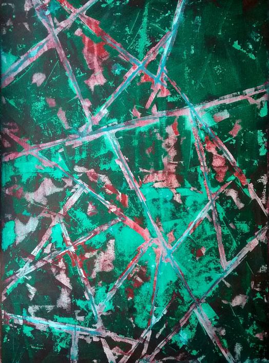 Kunst und GewaIt. Glasbruch; Broken Glass; zerbrochenes, gefährlich scharfkantiges, splittriges, knackendes Glas; eine geborstene, blutbefleckte Scheibe; Licht fällt stellenweise schwach hindurch, auch durch die Spalte zwischen den Bruchstücken.