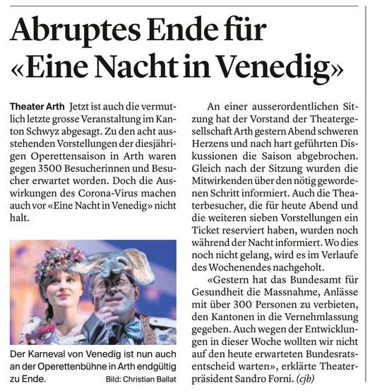 """Zeitungsbericht im """"Bote der Urschweiz"""" vom 13. März 2020"""