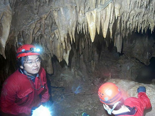鍾乳洞の調査風景。良質な鍾乳石を探して暗闇の奥へ進む。