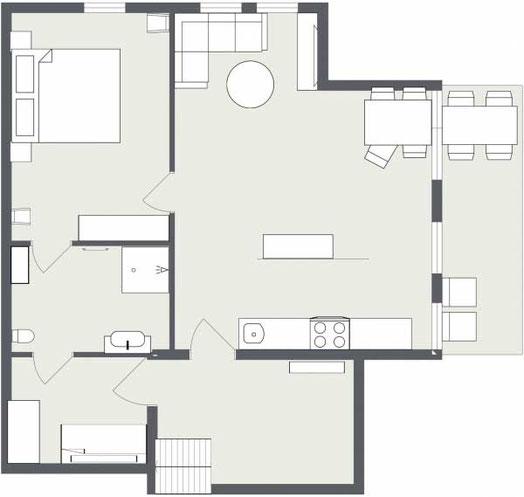 Grundriss der Giebelwohnung im Landhaus Jörg