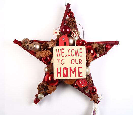 Stern  in rot - weiß mit fest integriertem Welcome Schild, ganz im skandinavischem Look.