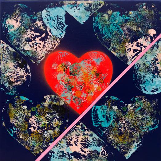 "Titel: ""POPHEART #2"" (2017), 40 cm x 40 cm"