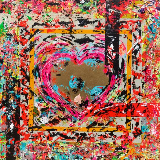 "Titel: ""POPHEART #1"" (2017), 40 cm x 40 cm"