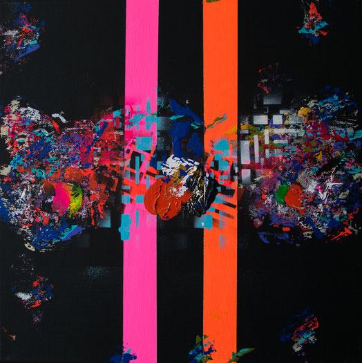 "Titel: ""SPACE CATWALK"" (2018), 40 cm x 40 cm"