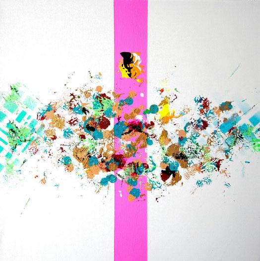 "Titel: ""FLUFFY ASTEROIDS"" (2018), 40 cm x 40 cm"