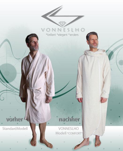 Bademantel für Herren & Damen Biobademantel extra lang mit Kapuze