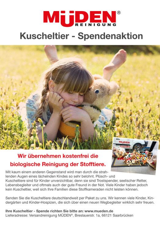 mueden.de,  Kuscheltiere-Spendenaktion neues Plakat mit Text von Aktion Stofftiere spenden