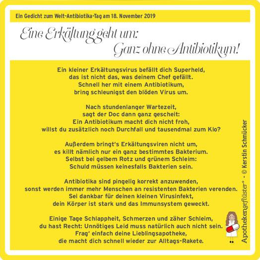 Apothekengeflüster-Gedicht: Eine Erkältung geht um: Ganz ohne Antibiotikum! Ein Aufruf zur rationalen Antibiotikatherapie von Kerstin Schmücker