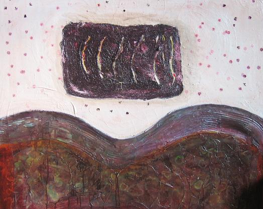 Artigkeit, Claudia Karrasch, Bonn, Malen, Abstrakte Malerei, Kunst, Studio, o.T., Acryl, Spachtelmasse, Marmormehl, Schellack, Wachs, etc. auf Leinwand, 100 x 100 cm, September 2009