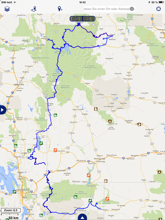 gefahrene Route durch Wyoming und angrenzende Staaten