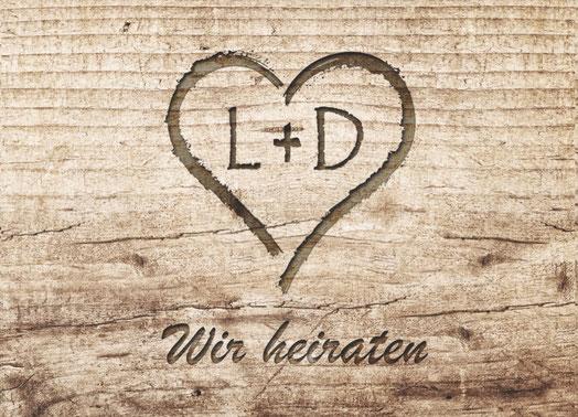 Hochzeit Verliebt Holzdesign Holzoptik Karte Einladungskarten