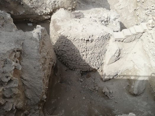 The 8000 year old mud brick tower found in excavations.