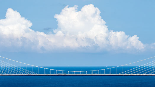 The Black Sea with clouds and a bridge