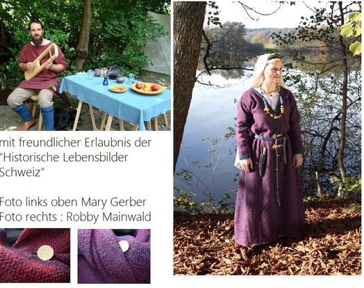 handgewebte Stoffe zu frühmittelalterliche Kleidung verarbeitet. Vorlage war ein Fund aus der Schweiz ( Gewebeabdruck )