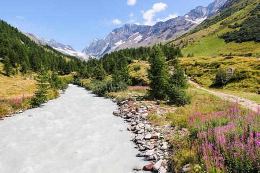Immer am Gletscherfluss Lonza entlang