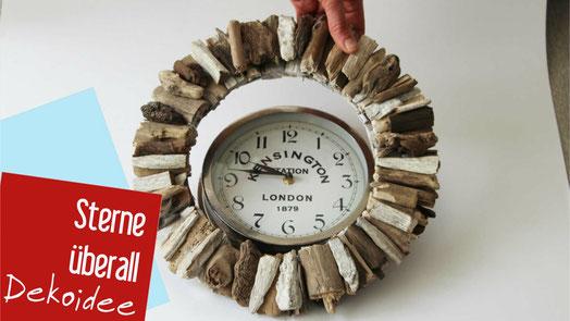 Bastelidee: Für eine gekaufte Uhr einen Treibholzkranz gemacht