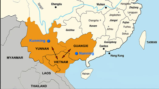 Map of Western Han Empire colonisation (present names) from 111 BCE western cluster (Yunnan + Vietnam) and eastern cluster (Guangxi mainly)