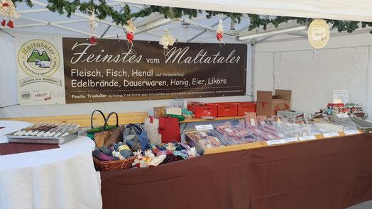 Stand der Fam. Truskaller am Maltataler Weihnachtsmarkt. Danke für Euren Besuch!