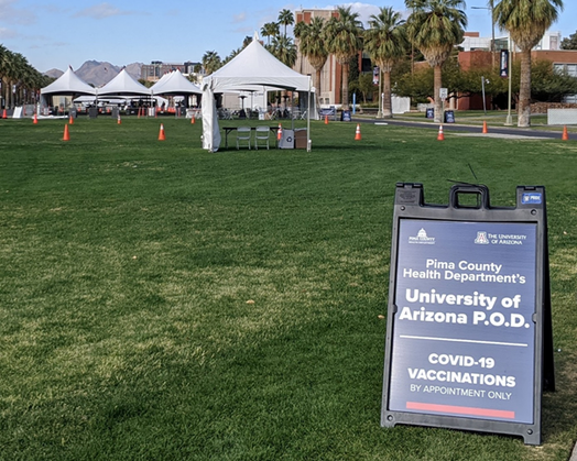 Vaccination site put in place by the University of Arizona, January 2021.