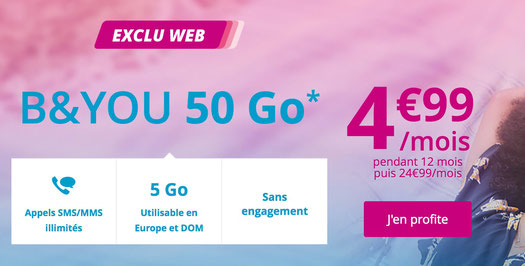 promo forfait mobile telephone bouygues b&you