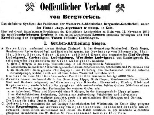 1862 - Versteigerung der Grube Regenbogen