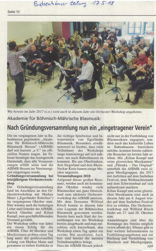 Babenhäuser Zeitung vom 17.05.18