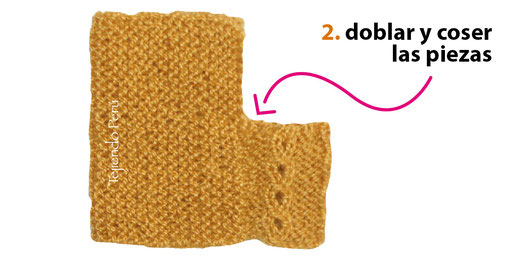 Zapatitos de 2 rectangulos tejidos en dos agujas o palitos en punto ojo de perdiz