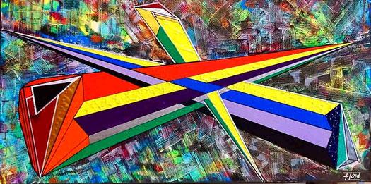 Klare Linien und stark leuchtende Farben entfalten und verteilen sich auf diesem Werk.