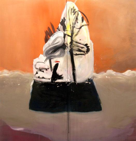 ariel, 2019, oil and acryl on canvas, 155 x 150 cm